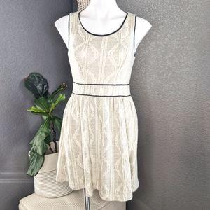 Monteau Cream and Black Sweater Dress